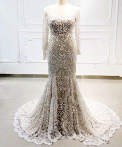 فستان زفاف سكري بقصة حورية البحر